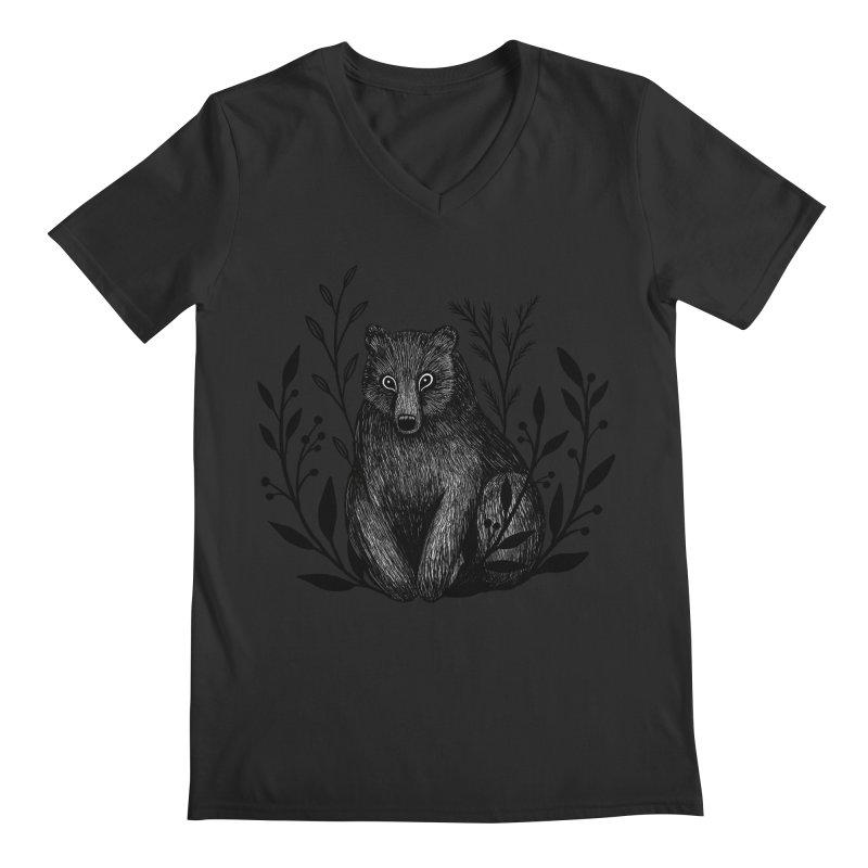 Botanical Bear Men's Regular V-Neck by Thistle Moon Artist Shop