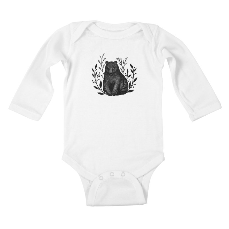 Botanical Bear Kids Baby Longsleeve Bodysuit by Thistle Moon Artist Shop