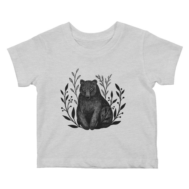 Botanical Bear Kids Baby T-Shirt by Thistle Moon Artist Shop