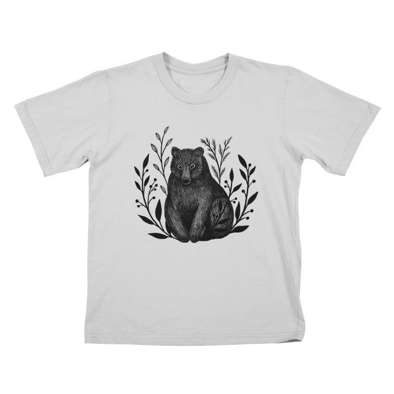 Botanical Bear Kids T-Shirt by Thistle Moon Artist Shop