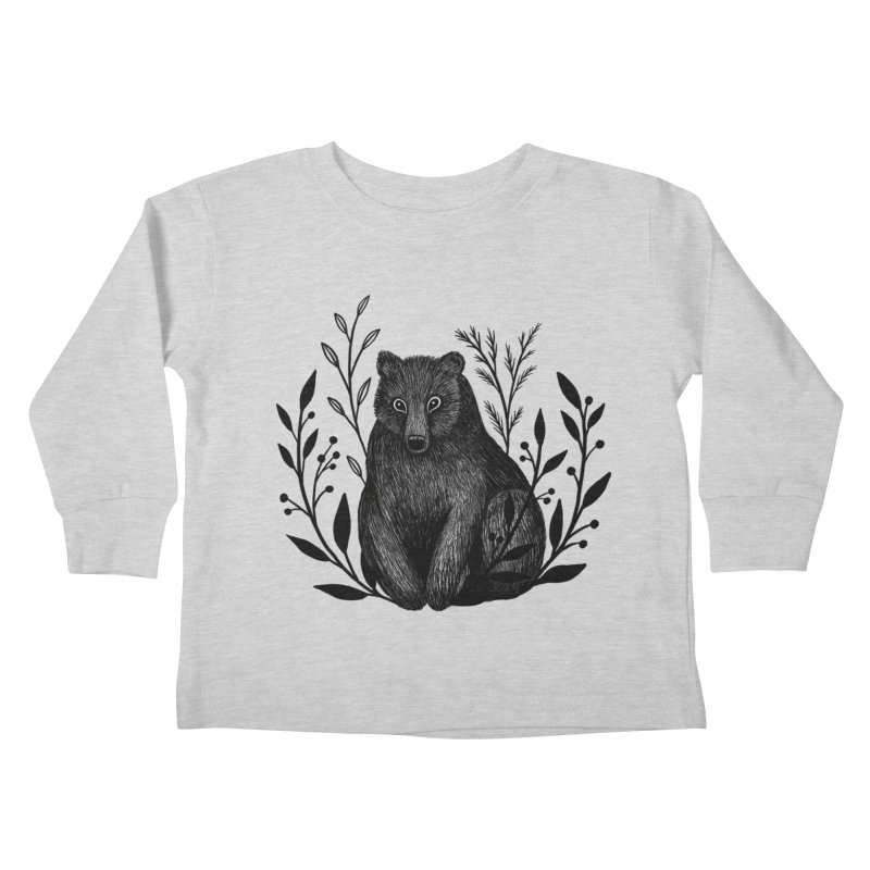 Botanical Bear Kids Toddler Longsleeve T-Shirt by Thistle Moon Artist Shop