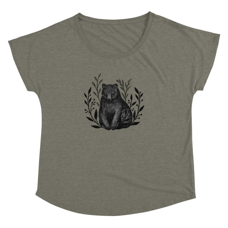 Botanical Bear Women's Dolman Scoop Neck by Thistle Moon Artist Shop