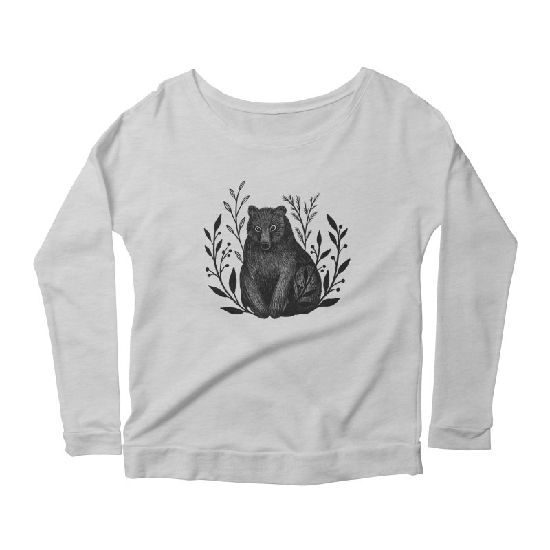 Botanical Bear Women's Scoop Neck Longsleeve T-Shirt by Thistle Moon Artist Shop
