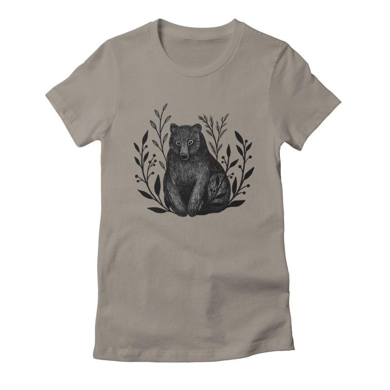Botanical Bear Women's Fitted T-Shirt by Thistle Moon Artist Shop