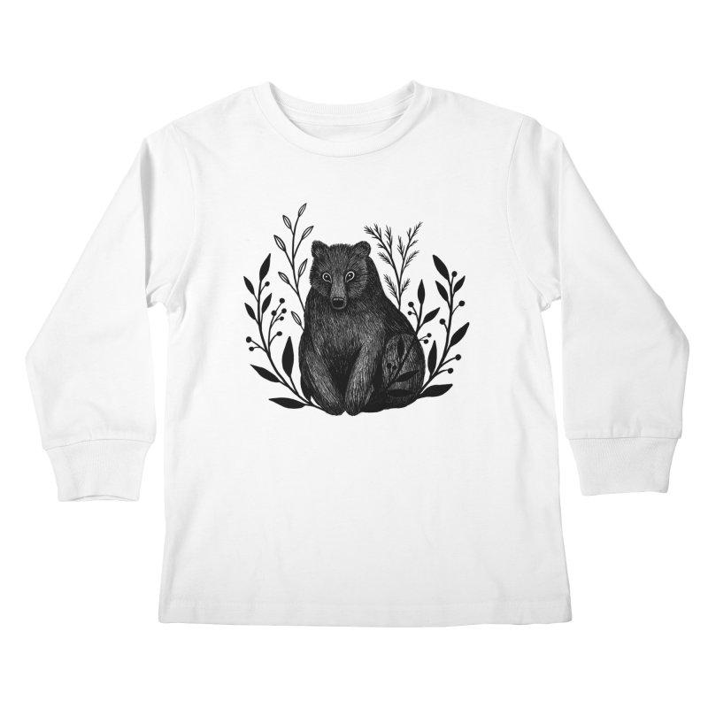 Botanical Bear Kids Longsleeve T-Shirt by Thistle Moon Artist Shop