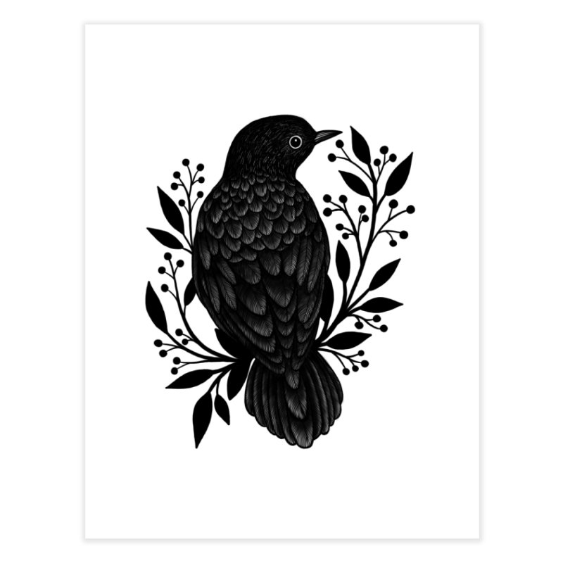 Botanical Blackbird Home Fine Art Print by Thistle Moon Artist Shop