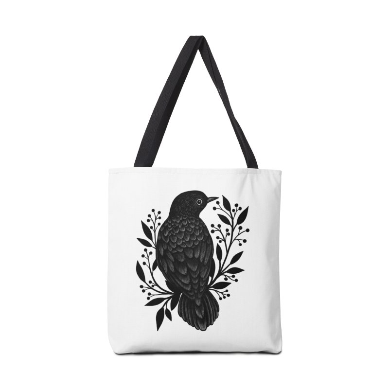 Botanical Blackbird Accessories Tote Bag Bag by Thistle Moon Artist Shop