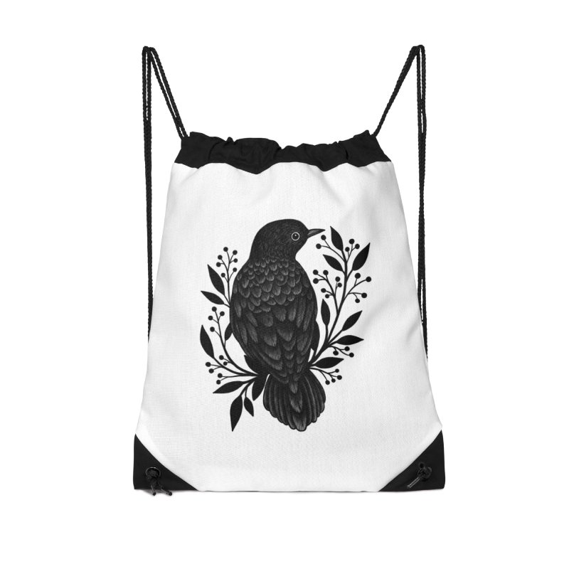 Botanical Blackbird Accessories Drawstring Bag Bag by Thistle Moon Artist Shop