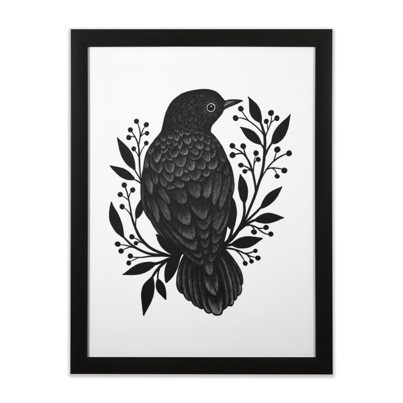Botanical Blackbird Home Framed Fine Art Print by Thistle Moon Artist Shop