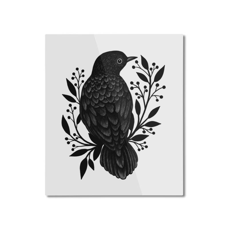 Botanical Blackbird Home Mounted Aluminum Print by Thistle Moon Artist Shop
