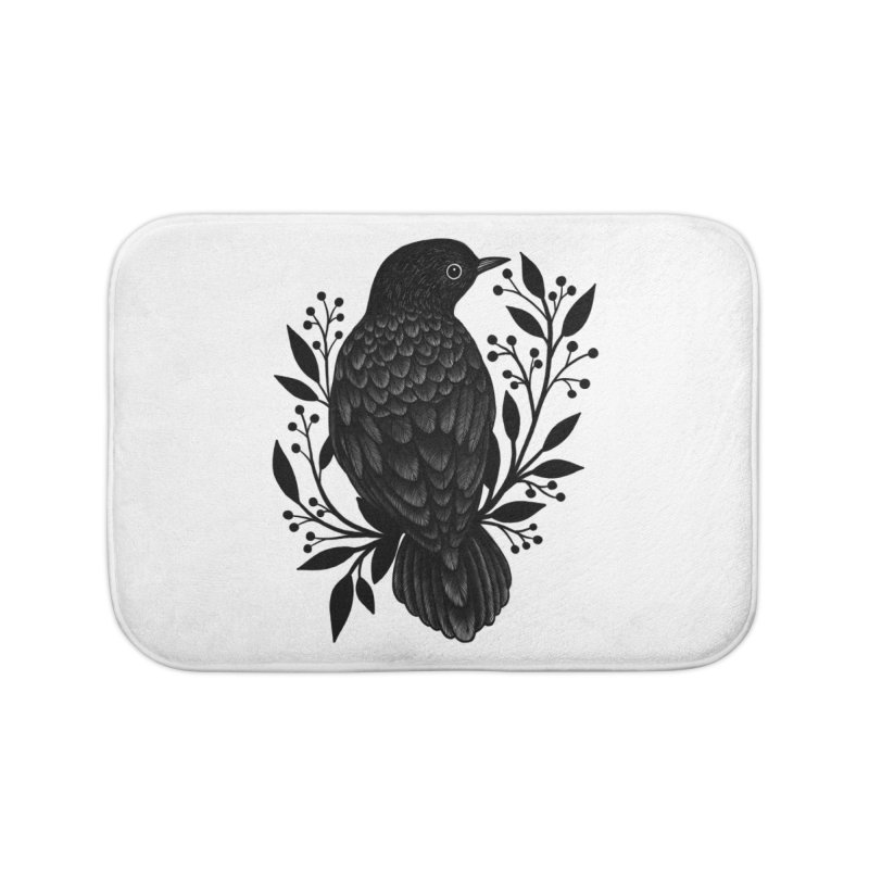Botanical Blackbird Home Bath Mat by Thistle Moon Artist Shop