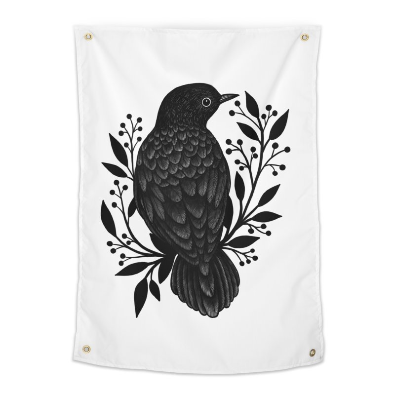 Botanical Blackbird Home Tapestry by Thistle Moon Artist Shop