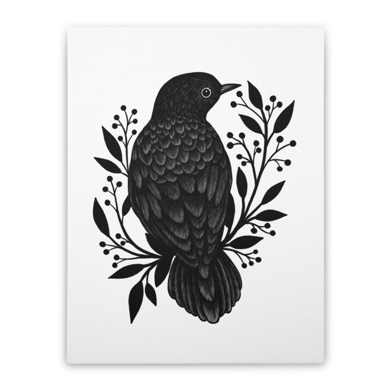 Botanical Blackbird Home Stretched Canvas by Thistle Moon Artist Shop