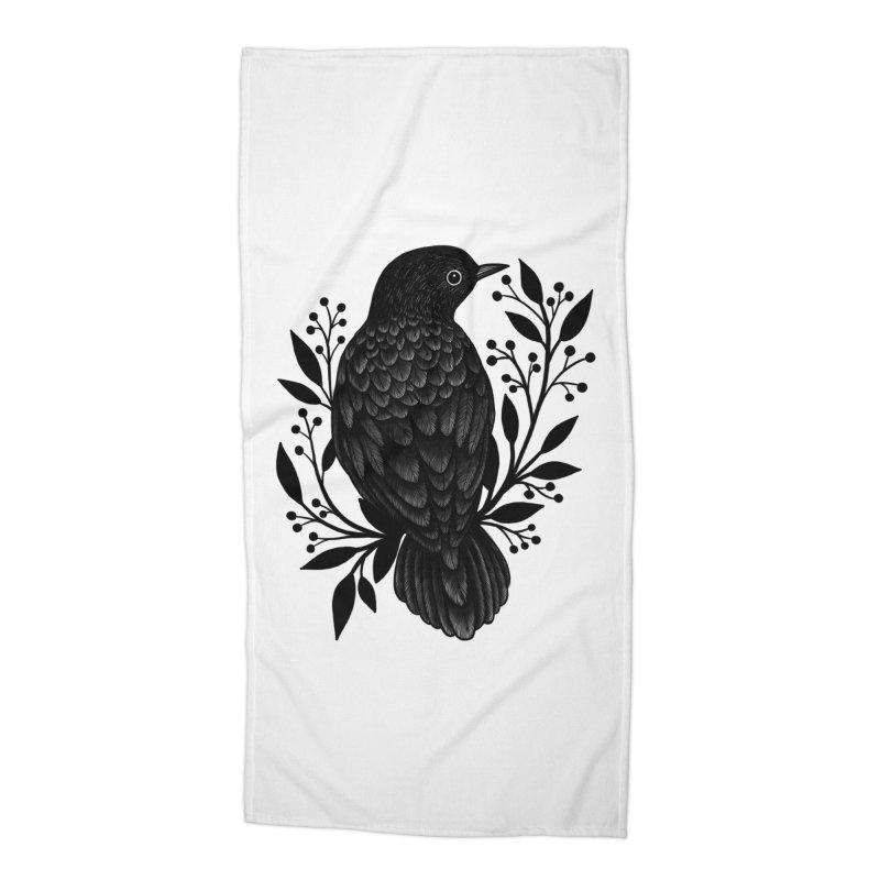 Botanical Blackbird Accessories Beach Towel by Thistle Moon Artist Shop