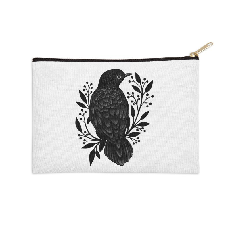 Botanical Blackbird Accessories Zip Pouch by Thistle Moon Artist Shop