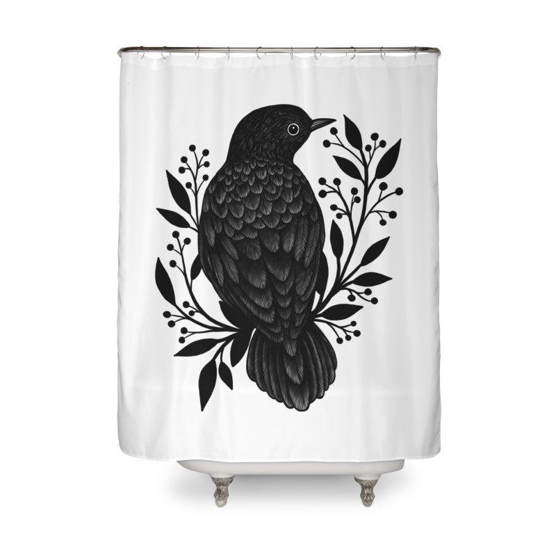 Botanical Blackbird Home Shower Curtain by Thistle Moon Artist Shop