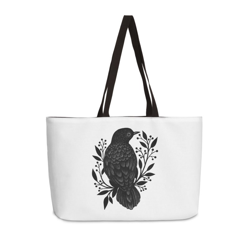 Botanical Blackbird Accessories Weekender Bag Bag by Thistle Moon Artist Shop