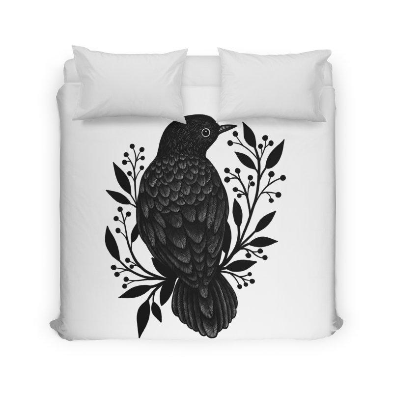 Botanical Blackbird Home Duvet by Thistle Moon Artist Shop