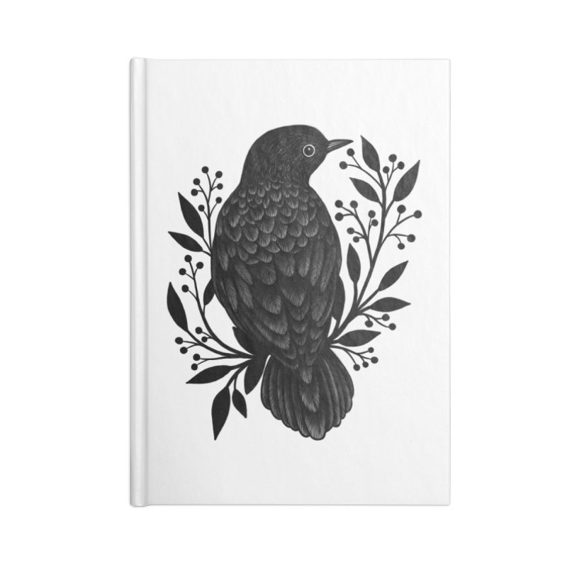 Botanical Blackbird Accessories Blank Journal Notebook by Thistle Moon Artist Shop