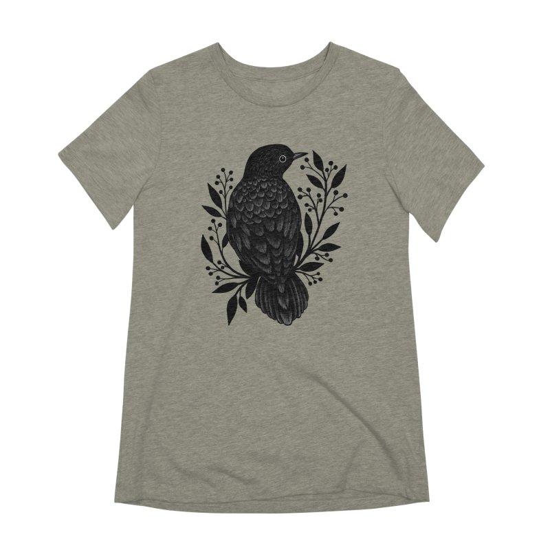 Botanical Blackbird Women's Extra Soft T-Shirt by Thistle Moon Artist Shop