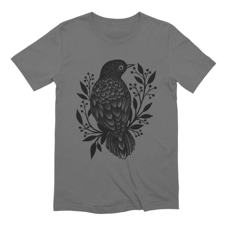 Botanical Blackbird Men's Extra Soft T-Shirt by Thistle Moon Artist Shop