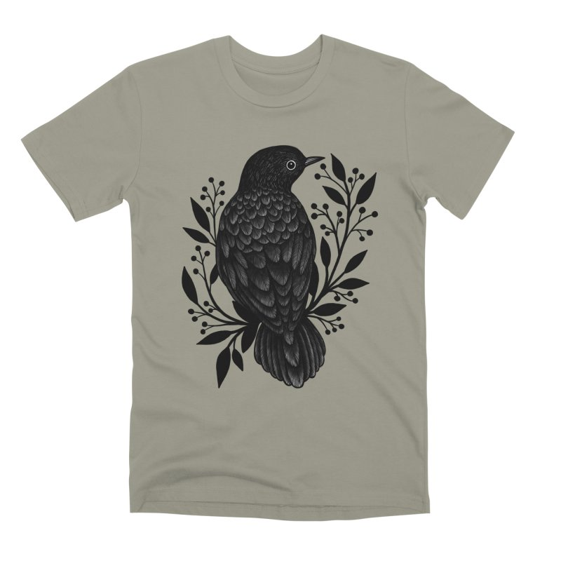 Botanical Blackbird Men's Premium T-Shirt by Thistle Moon Artist Shop