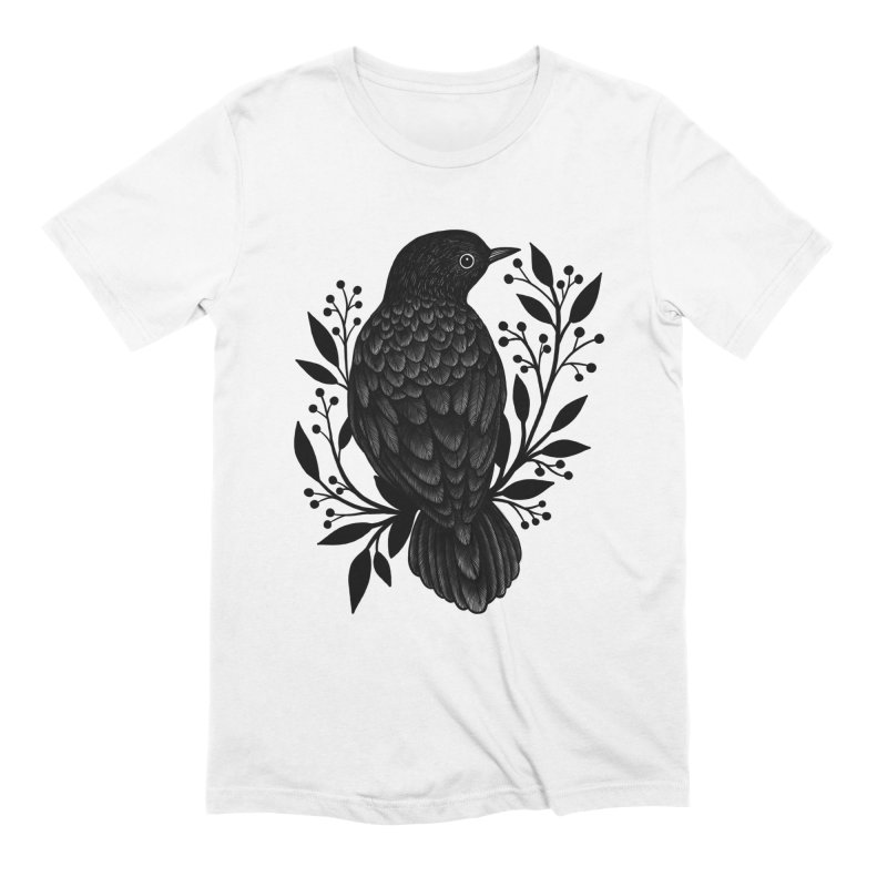 Botanical Blackbird Men's Extra Soft T-Shirt by Thistle Moon Artist Shop