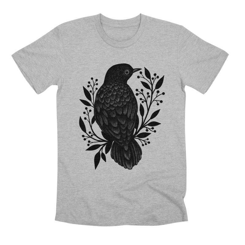 Botanical Blackbird Men's Premium T-Shirt by Thistle Moon Artist Shop