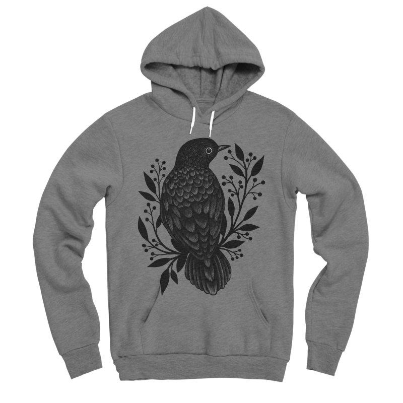 Botanical Blackbird Men's Sponge Fleece Pullover Hoody by Thistle Moon Artist Shop