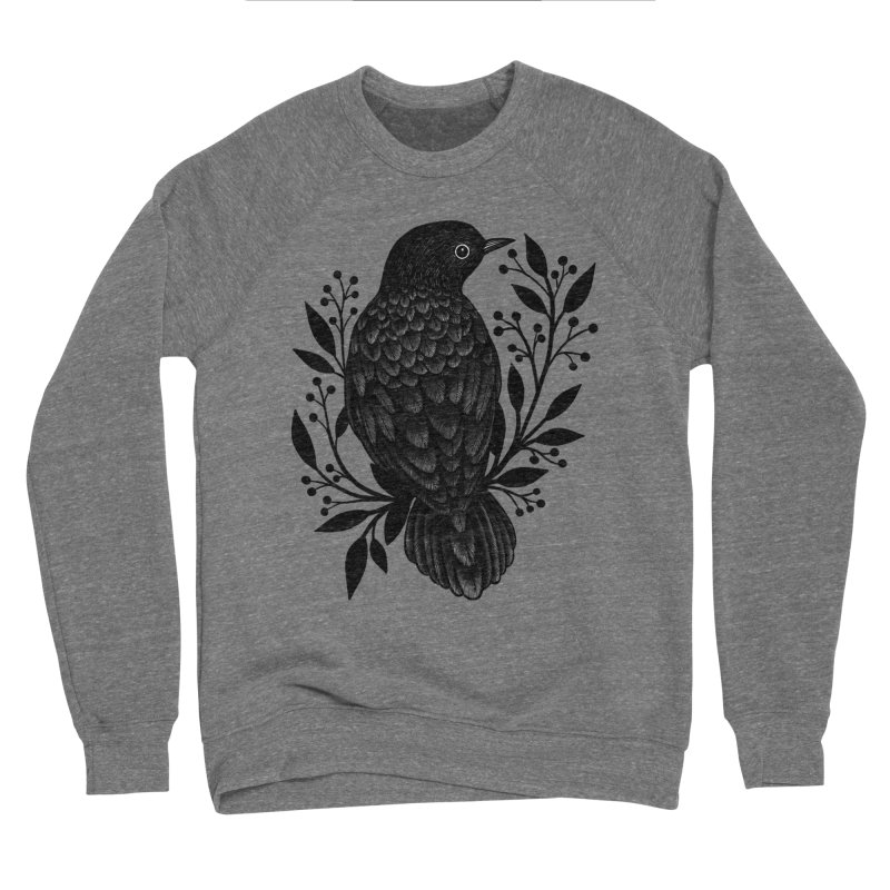 Botanical Blackbird Men's Sponge Fleece Sweatshirt by Thistle Moon Artist Shop