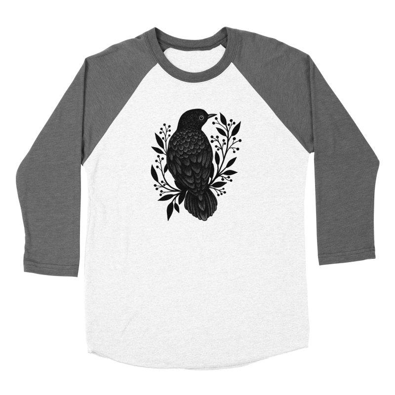 Botanical Blackbird Women's Baseball Triblend Longsleeve T-Shirt by Thistle Moon Artist Shop