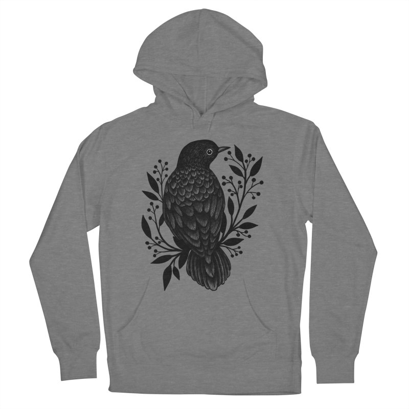 Botanical Blackbird Women's French Terry Pullover Hoody by Thistle Moon Artist Shop