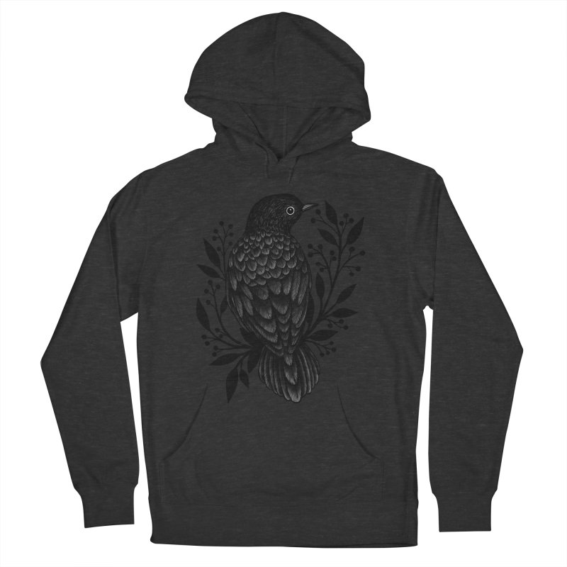Botanical Blackbird Men's French Terry Pullover Hoody by Thistle Moon Artist Shop