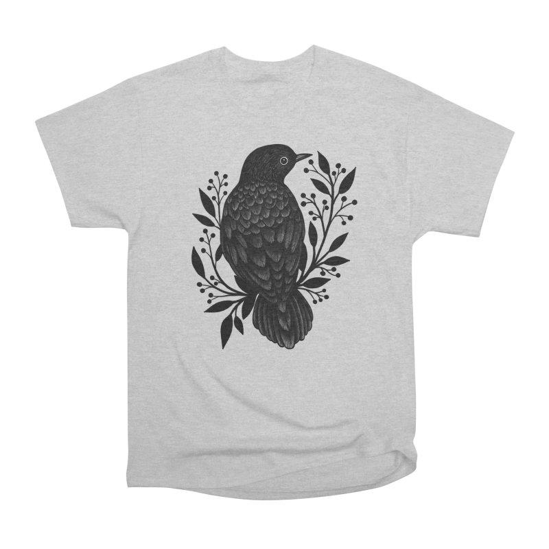 Botanical Blackbird Men's Heavyweight T-Shirt by Thistle Moon Artist Shop