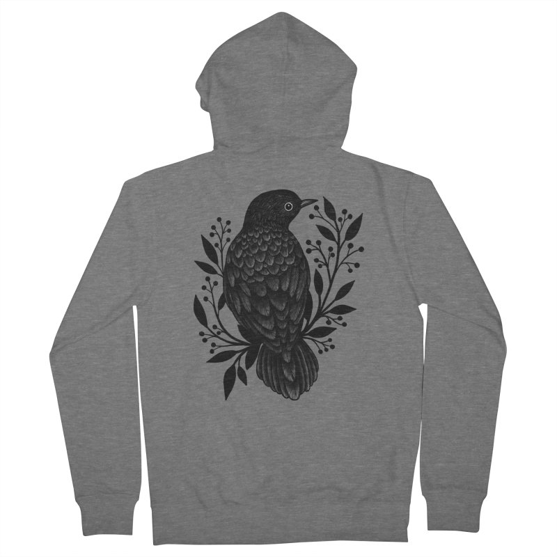 Botanical Blackbird Women's Zip-Up Hoody by Thistle Moon Artist Shop