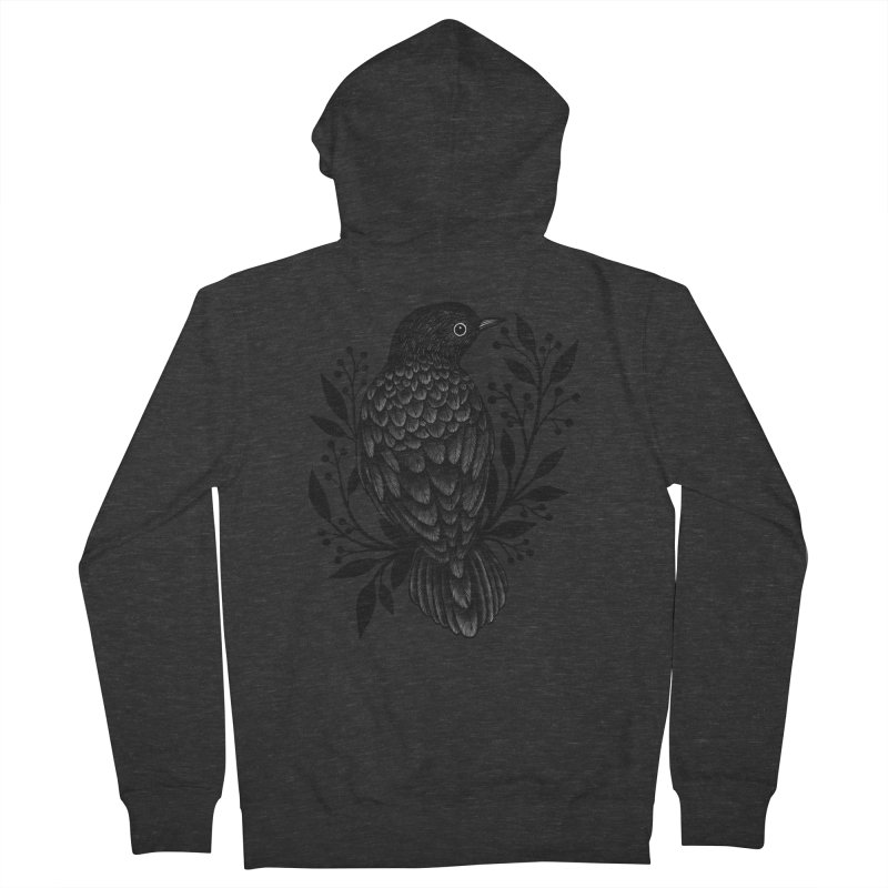 Botanical Blackbird Men's French Terry Zip-Up Hoody by Thistle Moon Artist Shop