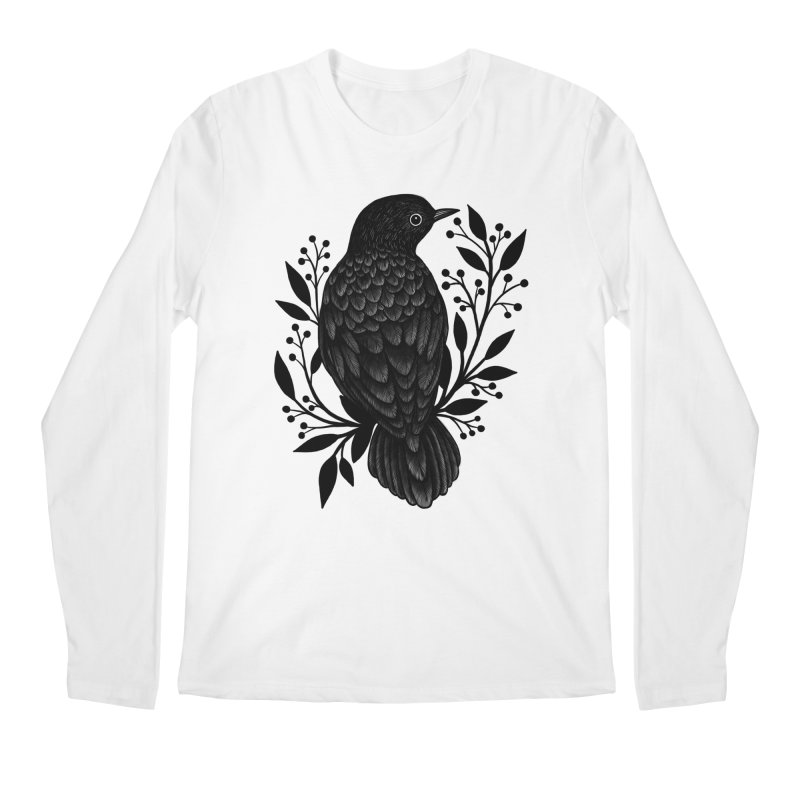 Botanical Blackbird Men's Regular Longsleeve T-Shirt by Thistle Moon Artist Shop