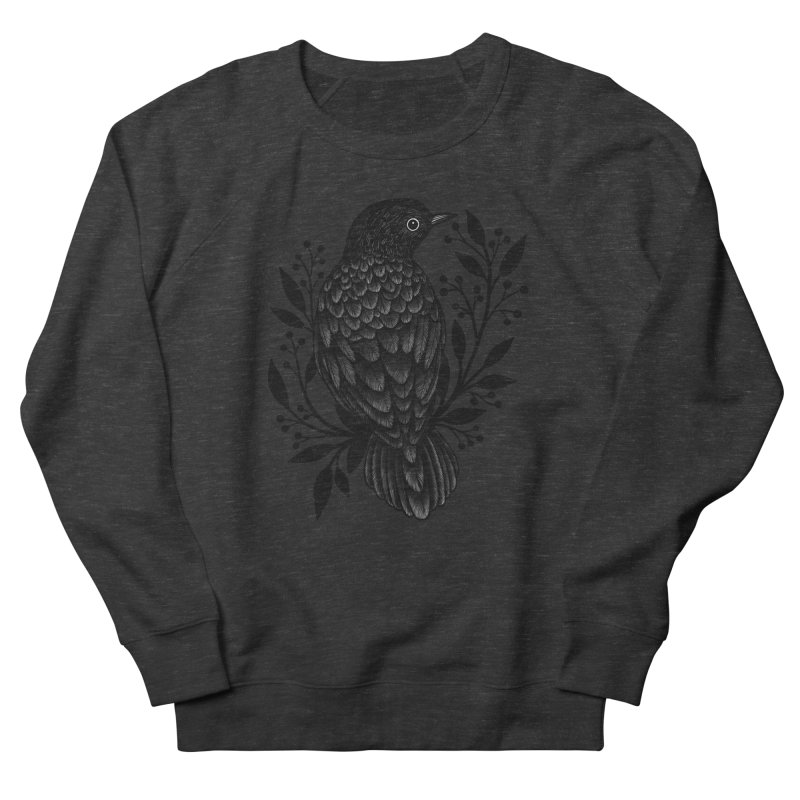 Botanical Blackbird Women's French Terry Sweatshirt by Thistle Moon Artist Shop