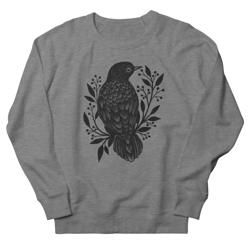 Botanical Blackbird Men's French Terry Sweatshirt by Thistle Moon Artist Shop