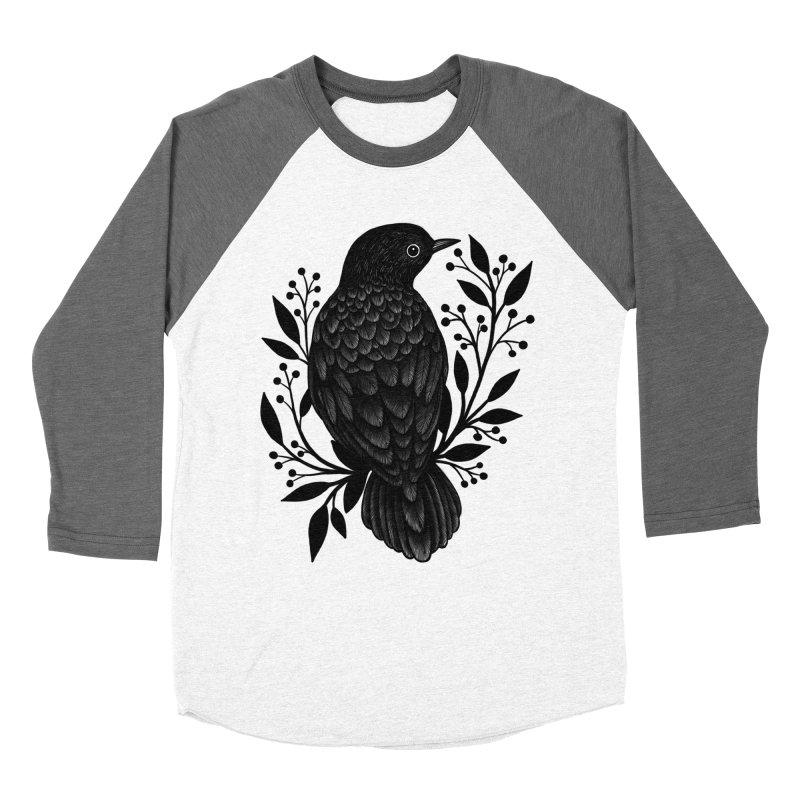 Botanical Blackbird Men's Baseball Triblend Longsleeve T-Shirt by Thistle Moon Artist Shop