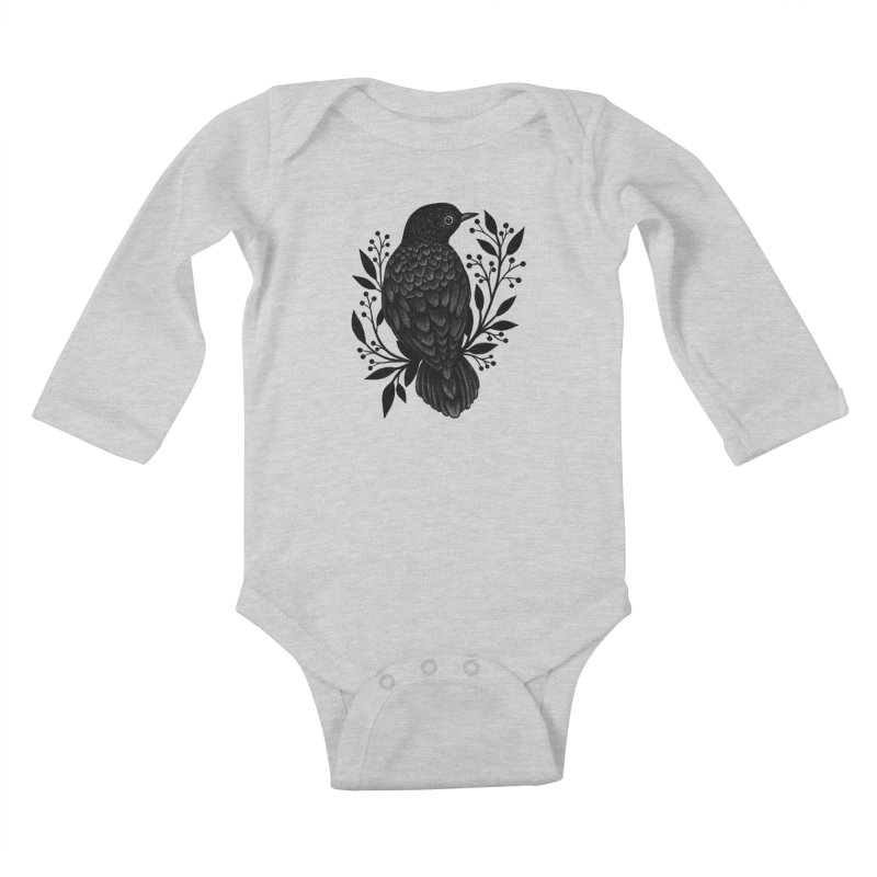 Botanical Blackbird Kids Baby Longsleeve Bodysuit by Thistle Moon Artist Shop