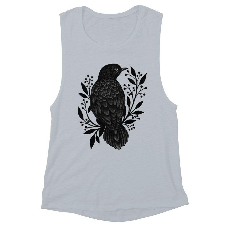Botanical Blackbird Women's Muscle Tank by Thistle Moon Artist Shop