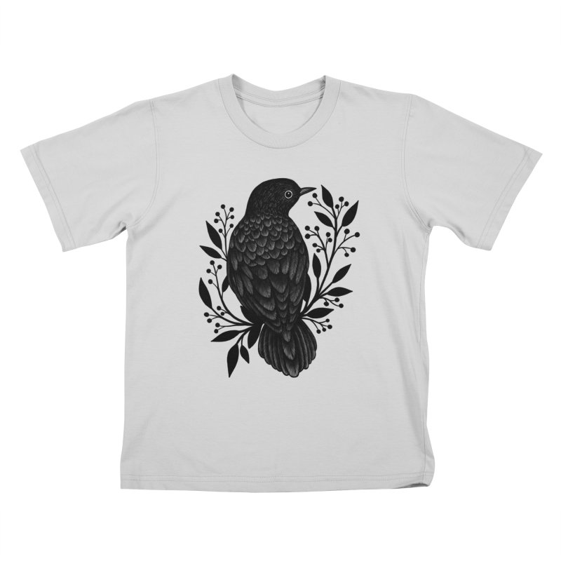 Botanical Blackbird Kids T-Shirt by Thistle Moon Artist Shop
