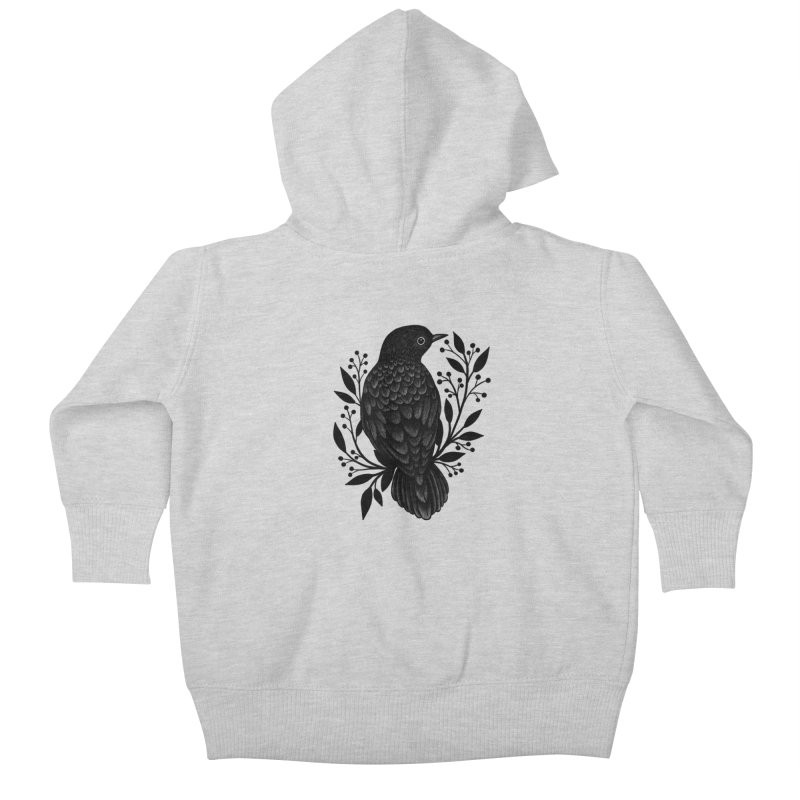 Botanical Blackbird Kids Baby Zip-Up Hoody by Thistle Moon Artist Shop