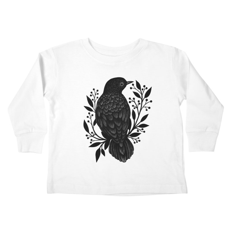 Botanical Blackbird Kids Toddler Longsleeve T-Shirt by Thistle Moon Artist Shop