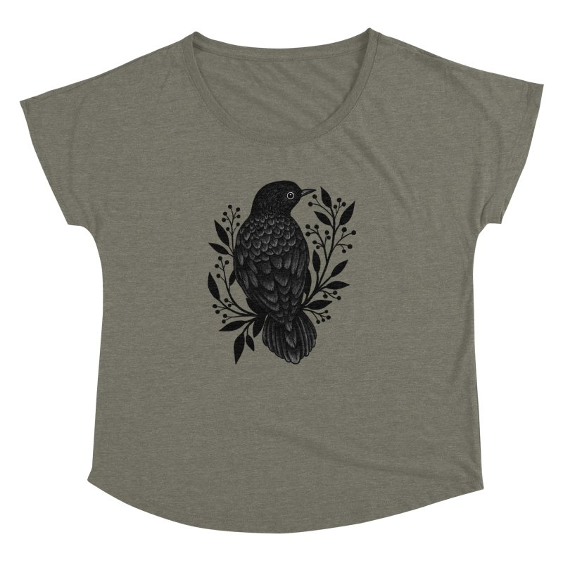 Botanical Blackbird Women's Dolman Scoop Neck by Thistle Moon Artist Shop