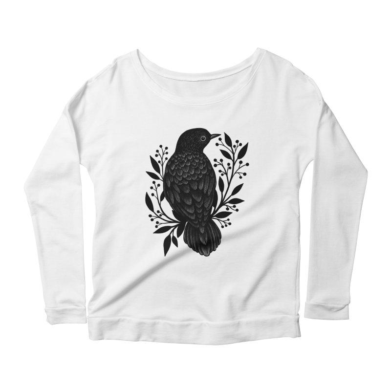 Botanical Blackbird Women's Scoop Neck Longsleeve T-Shirt by Thistle Moon Artist Shop