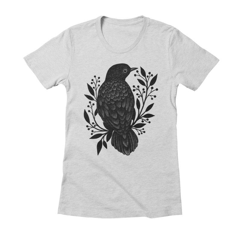 Botanical Blackbird Women's Fitted T-Shirt by Thistle Moon Artist Shop