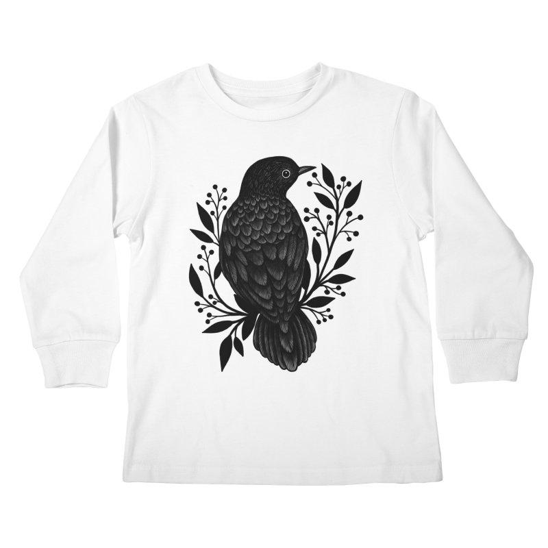 Botanical Blackbird Kids Longsleeve T-Shirt by Thistle Moon Artist Shop