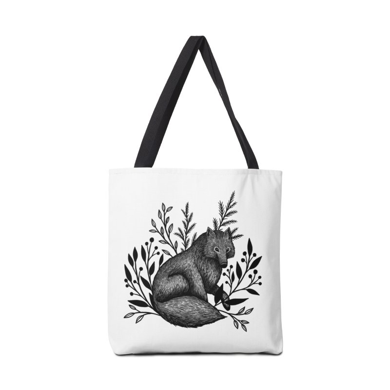 Woodland Wolf Accessories Tote Bag Bag by Thistle Moon Artist Shop